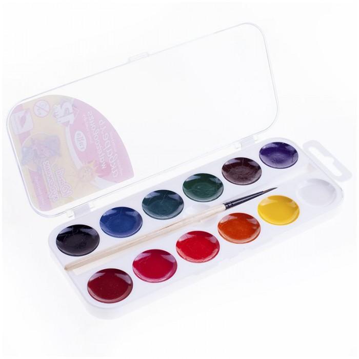 Картинка для Краски Гамма Акварель Юный художник медовая с кистью 12 цветов