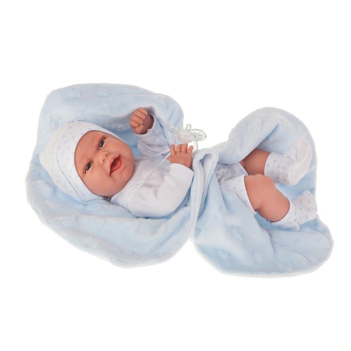 Куклы и одежда для кукол Munecas Antonio Juan Кукла-младенец Эва на голубом одеяльце 33 см