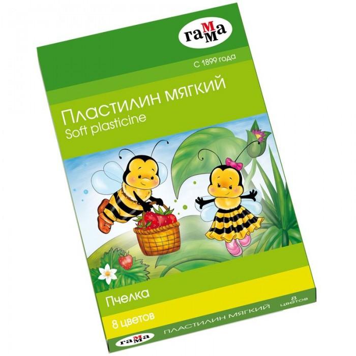 Пластилин Гамма Пчелка восковой мягкий со стеком 8 цветов 120 г