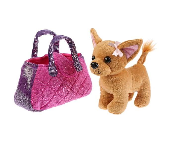 Купить Мягкие игрушки, Мягкая игрушка Мой питомец Собака в сиреневой сумочке 15 см