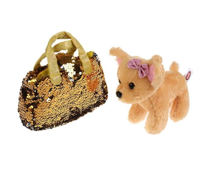 Купить Мягкие игрушки, Мягкая игрушка Мой питомец Собака в сумочке из пайеток золото 15 см