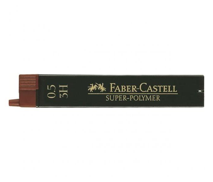 Канцелярия Faber-Castell Грифели для механических карандашей Super-Polymer 0.5 мм 3H 12 шт. cross грифели для механических кассетных карандашей 0 5 мм 12 шт 1 ластик в кассете
