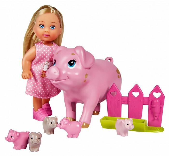 Куклы и одежда для кукол Simba Кукла Еви со свинкой и поросятами 12 см недорого
