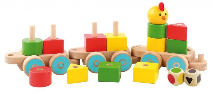 Купить Деревянные игрушки, Деревянная игрушка Lucy & Leo Паровoзик-сортер Пирамидки
