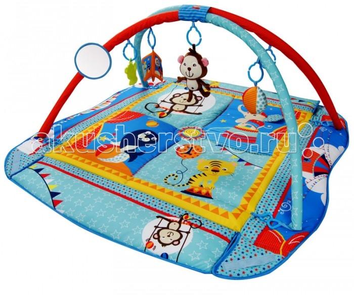 Развивающий коврик BabyHit PM-03 CircusPM-03 CircusИгровой коврик Babyhit Circus (Цирк) с музыкальной подвеской предназначен для детей от рождения до 12 месяцев и помогает интеллектуальному развитию ребенка. Рекомендуется использовать игровые коврики с рождения.  Материалы и краски, используемые при производстве ковриков, экологически чистые. Подвесные игрушки, игровое поле привлекают интерес ребенка и способствуют развитию зрения, слуха, тактильных ощущений. В процессе эксплуатации игровых ковриков ребенок учится хватать и держать предметы, ползать, играть в игры. Дизайн игровых ковриков, разнообразие предлагаемых игр, игрушек и развлечений, таких как музыкальная подвеска «Обезьянка», мячик с погремушкой, зеркальце, прорезыватель для зубов – львенок и книжка с шуршащим наполнителем позволяют ребенку гармонично развиваться. Игровой коврик можно располагать на полу, на кровати, на лужайке. Коврик легко переносить и он не требует специального ухода.  Покупая детский игровой коврик Babyhit Circus (Цирк) Вы гарантированно сделаете ребенку прекрасный выбор, который не только поможет малышу развиваться, но и обеспечит безопасное игровое пространство как дома, так и в гостях!   Размер коврика: 90 х 70 х 55 cм/ 115 х 100 х 46 см<br>