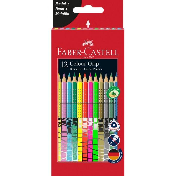 Купить Карандаши, восковые мелки, пастель, Faber-Castell Карандаши цветные Grip неон и пастель 12 шт.