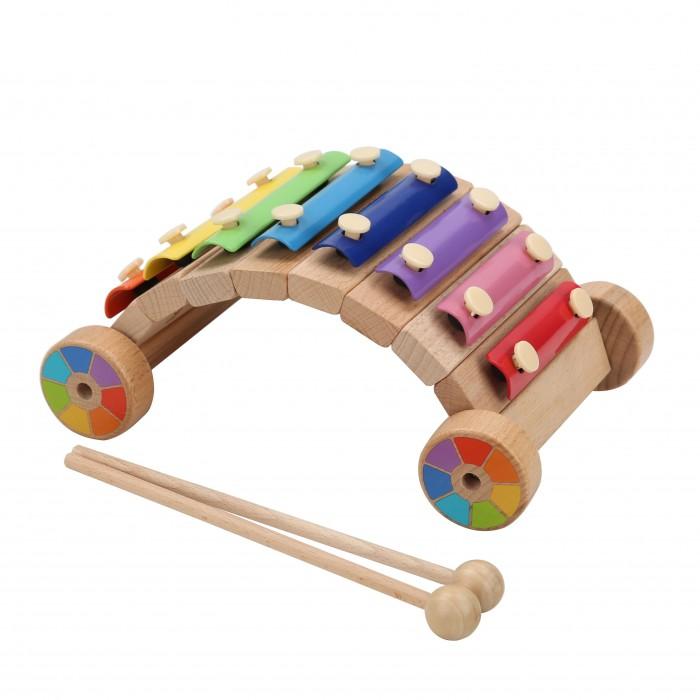 Деревянная игрушка Lucy & Leo Ксилофон-каталка Радуга фото