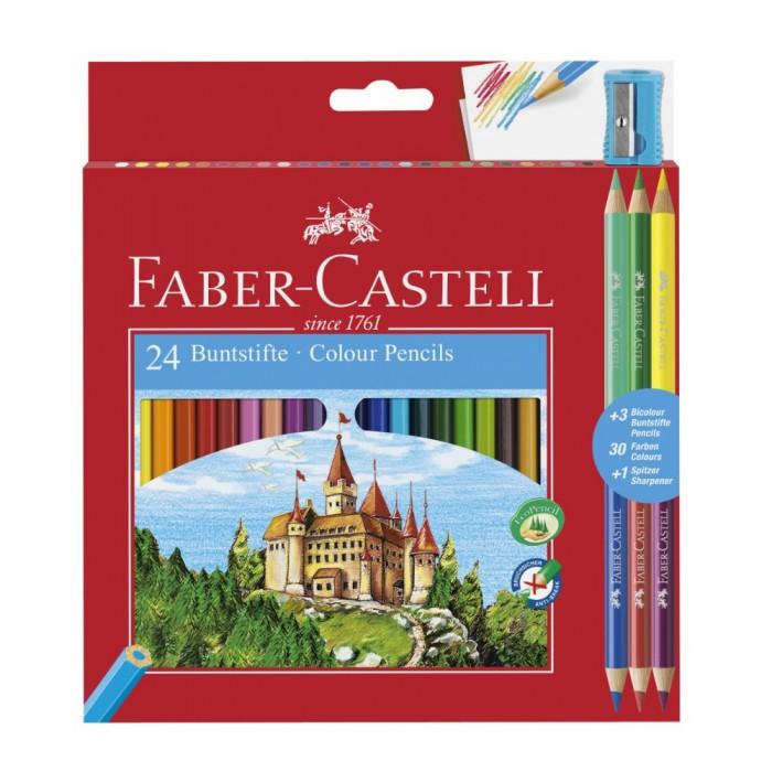 Фото - Карандаши, восковые мелки, пастель Faber-Castell Карандаши цветные с точилкой 27 шт. карандаши восковые мелки пастель kores карандаши цветные шестигранные с точилкой 12 цветов
