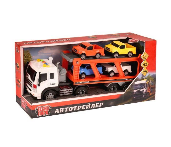 Купить Машины, Технопарк Машина инерционная Автотрейлер 4 машины в коробке 37 см