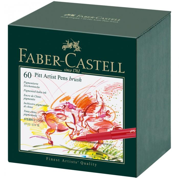 Канцелярия Faber-Castell Набор капиллярных ручек Pitt Artist Pen Brush ассорти 60 шт.