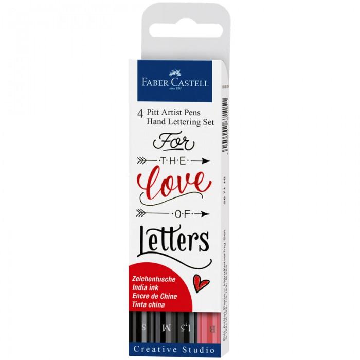 Канцелярия Faber-Castell Набор капиллярных ручек Pitt Artist Pen Lettering ассорти 4 шт.