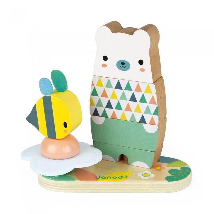 Купить Развивающие игрушки, Развивающая игрушка Janod Пирамидка Мишка с пчелкой