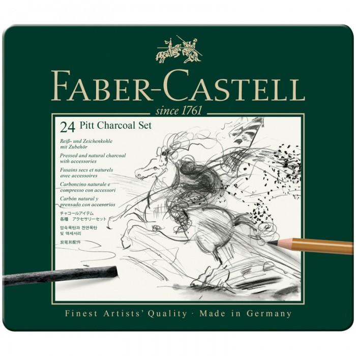 Карандаши, восковые мелки, пастель Faber-Castell Набор угля и угольных карандашей Pitt Charcoal 24 предмета