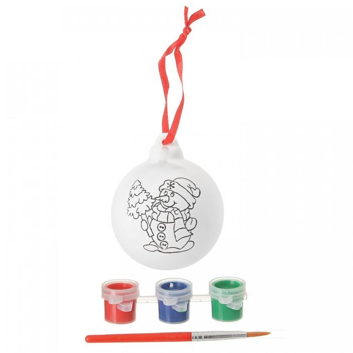 Наборы для творчества Bondibon Набор для творчества Ёлочные украшения Шар со снеговичком и ёлочкой