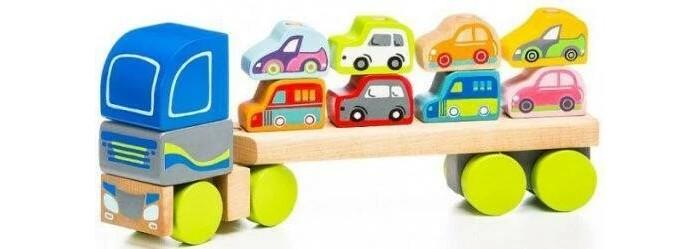Картинка для Деревянные игрушки Cubika Грузовик-конструктор с машинками LM-12 (12 деталей)