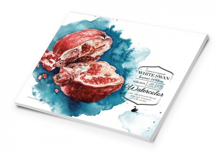 Картинка для Малевичъ Склейка для акварели White Swan Torshon 24х23 см 20 л