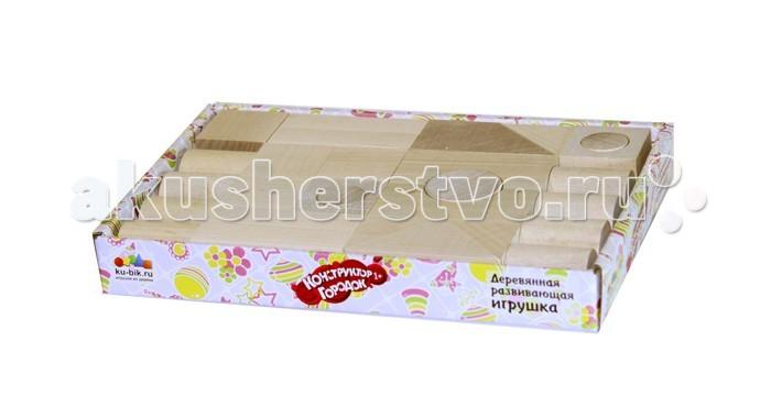 Деревянная игрушка Alatoys Конструктор Городок неокрашенный 28 деталей