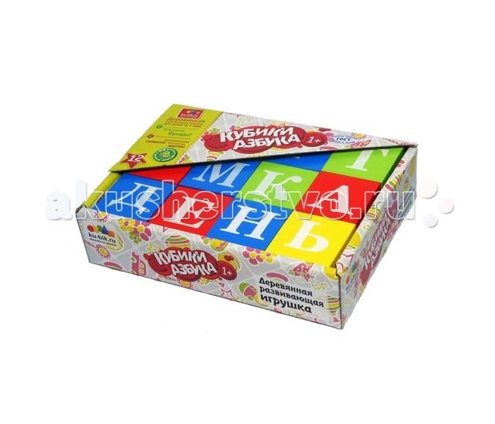 Деревянные игрушки Alatoys Кубики Азбука окрашенные 12 шт. 4 цвета деревянные игрушки теремок кубики веселый счет 12 шт