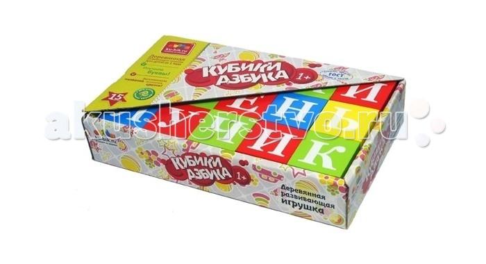 Деревянные игрушки Alatoys Кубики Азбука окрашенные 15 шт. деревянные игрушки теремок кубики веселый счет 15 шт