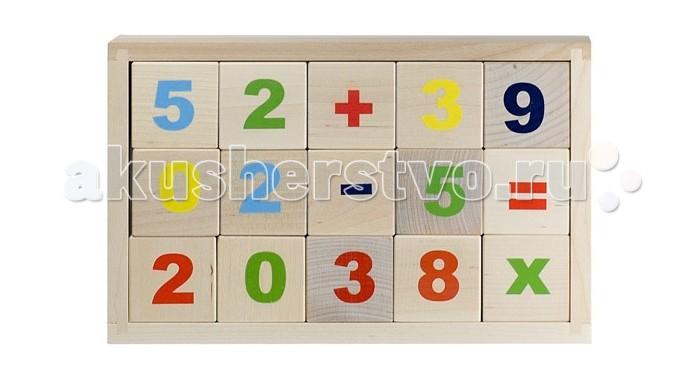 Деревянные игрушки Alatoys Кубики Математика деревянные неокрашенные 15 шт. деревянные игрушки теремок кубики веселый счет 15 шт