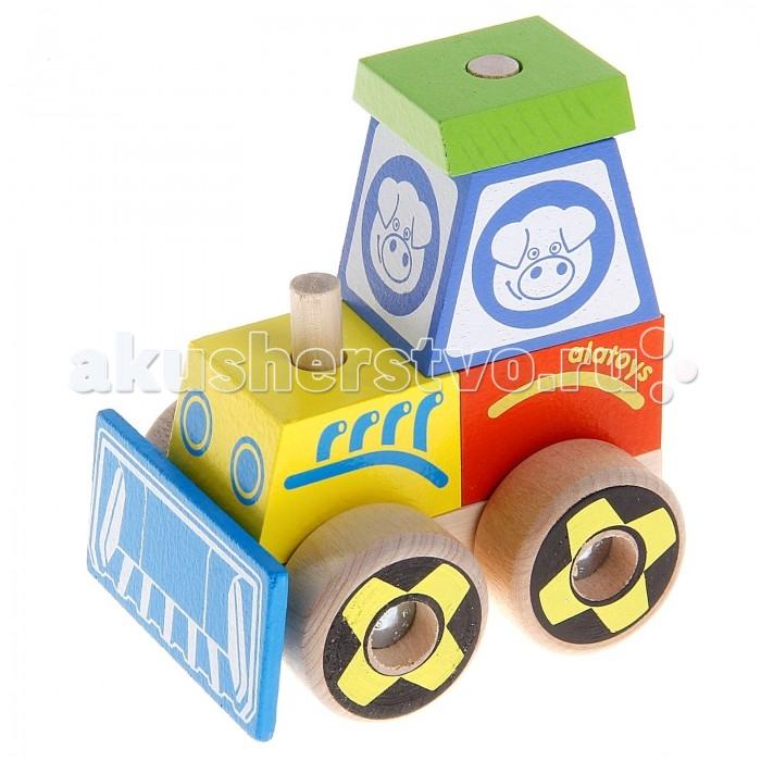 Каталки-игрушки Alatoys Конструктор-каталка Трактор малый мир деревянных игрушек конструктор каталка полиция