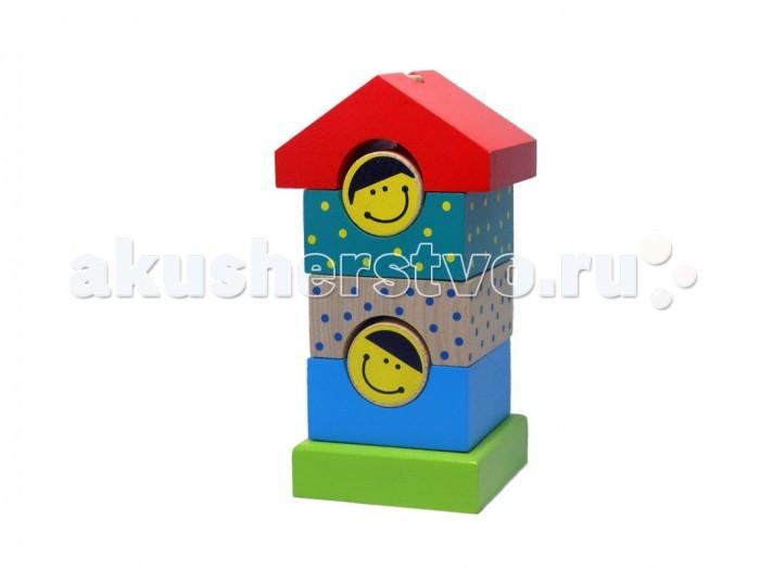 Деревянные игрушки Alatoys Пирамидка деревянная Домик 7 деталей деревянные игрушки теремок пирамидка квадрат
