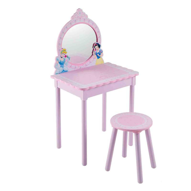 Disney Туалетный столик с табуреткой БелльТуалетный столик с табуреткой БелльНастоящий туалетный столик для маленькой красавицы.   Материал: МДФ + пластик + текстиль   Размеры:  - стол 60*41,5*117;  - стул 30*30*38,5<br>