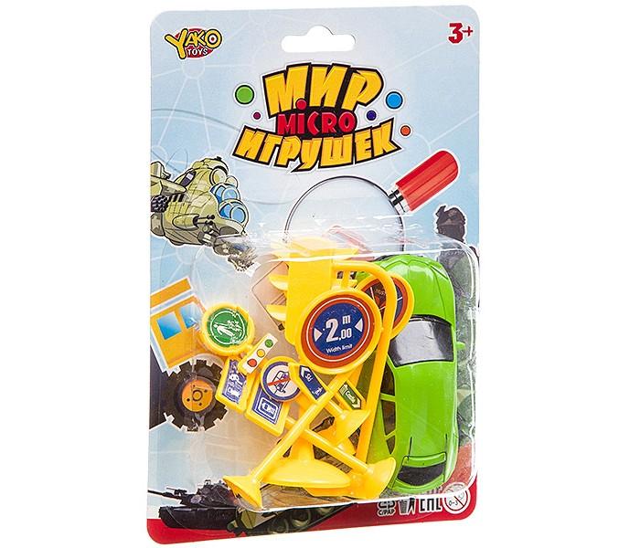 Машины Yako Мир micro игрушек Машина с дорожными знаками (7 предметов) yako заправка с машиной и дорожными знаками разноцветный