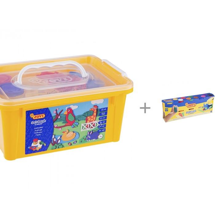 """Картинка для Масса для лепки Jovi Масса для лепки """"Зоопарк"""" 5 цветов х 50 г аксессуары, пластиковый контейнер и Масса для лепки 10 цветов х 110 г"""
