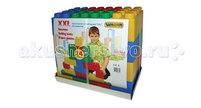 Конструктор Wader XXL (24 элемента)XXL (24 элемента)Конструктор Wader XXL (24 элемента) подойдет для самых маленьких детей, так как его детали довольно крупные, ими легко манипулировать маленькой детской ручке.   Особенности: Детали конструктора выполнены из пластмассы в цветах – синем, красном, желтом, зеленом.  Пластмасса качественная, детали плотно прилегают друг к другу, легко крепятся.  Даже маленькому ребенку под силу собрать различные постройки.<br>