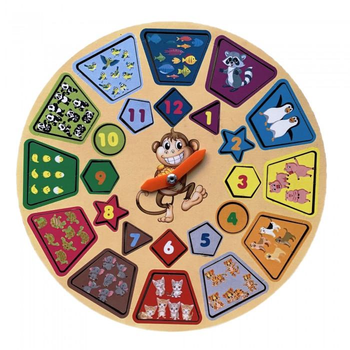 Картинка для Деревянные игрушки Сибирские игрушки Часики с животными - изучаем время и учимся считать