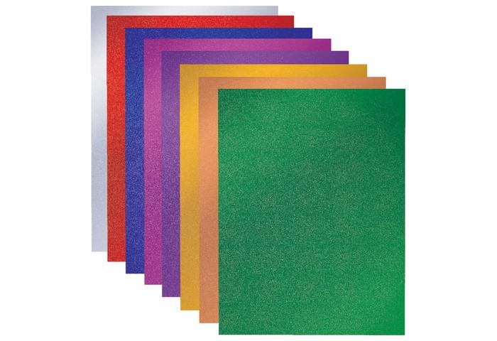 Канцелярия Brauberg Картон цветной А4 голографический Золотой песок 8 листов 8 цветов
