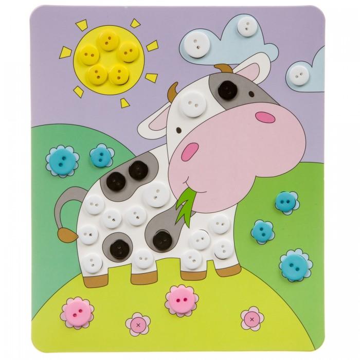 Картинка для Картины своими руками Bondibon Картина из пуговиц для малышей Коровка