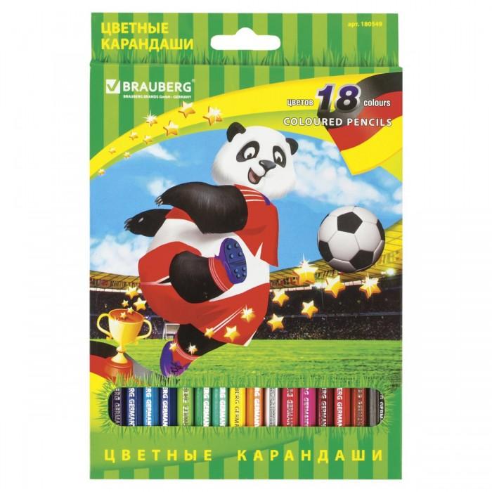 Карандаши, восковые мелки, пастель Brauberg Карандаши цветные заточенные Football match 18 цветов