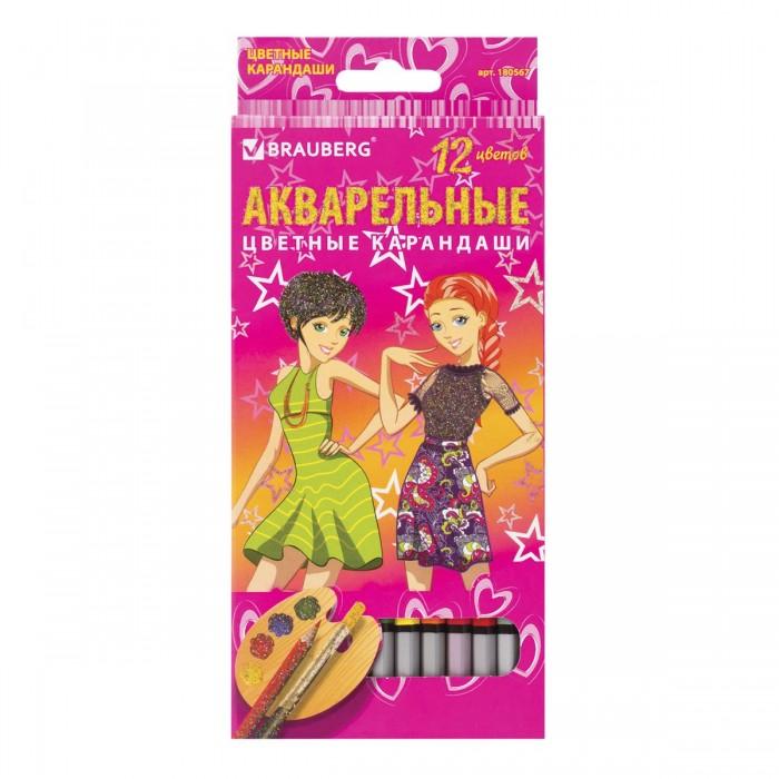 Карандаши, восковые мелки, пастель Brauberg Карандаши цветные акварельные заточенные Pretty Girls 12 цветов