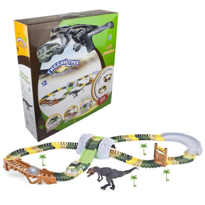Фото - Машины 1 Toy Гибкий трек Динопарк (132 детали) 1toy гибкий трек динопарк мини мост туннель ворота 1 машинка 102 детали разноцветный