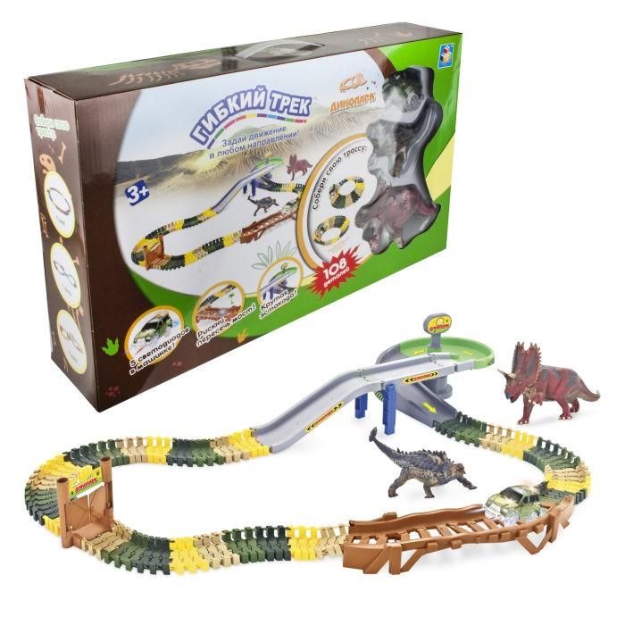 Фото - Машины 1 Toy Гибкий трек Динопарк (108 деталей) 1toy гибкий трек динопарк мини мост туннель ворота 1 машинка 102 детали разноцветный