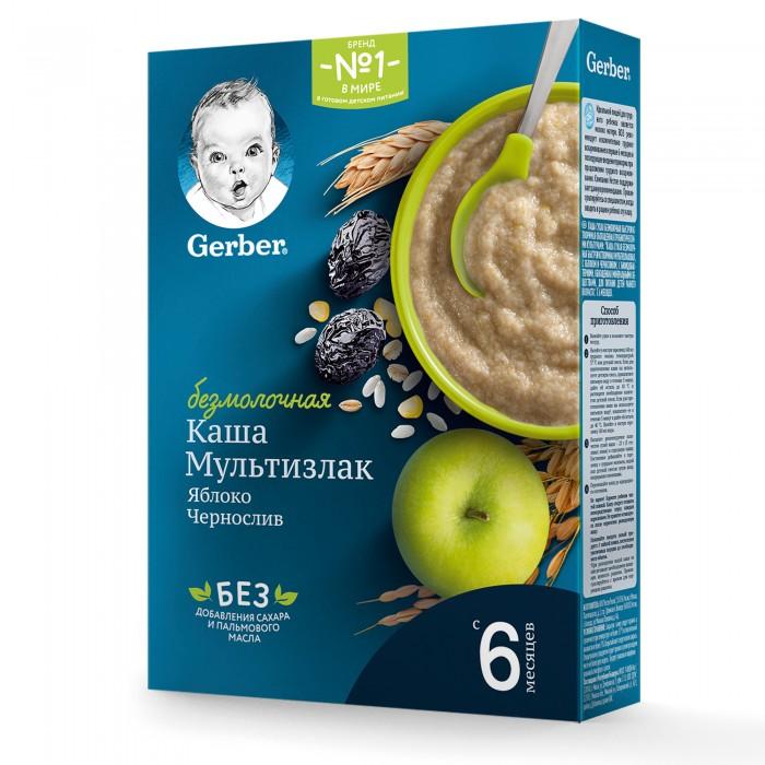 Каши Gerber Каша безмолочная мультизлаковая с яблоком и черносливом 180 г