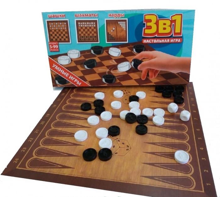 Настольные игры Игрушки Поволжья Шашки, шахматы, нарды 3 в 1
