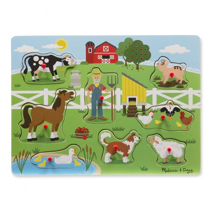Купить Деревянные игрушки, Деревянная игрушка Melissa & Doug Пазл со звуком Ферма 738