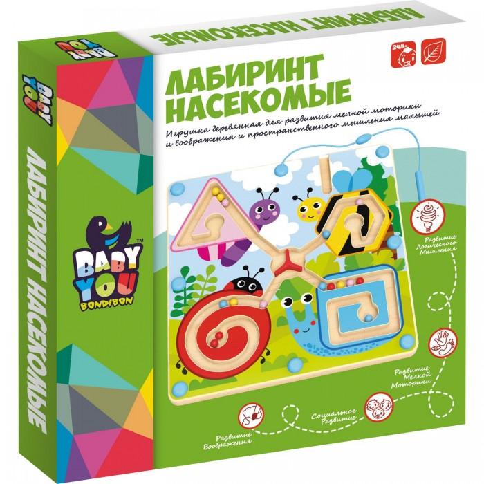 Купить Деревянные игрушки, Деревянная игрушка Bondibon игра лабиринт с магнитными шариками Насекомые