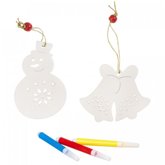 Картинка для Елочные игрушки Bondibon Набор для творчества Ёлочные украшения Снеговичок колокольчик с 3 маркерами