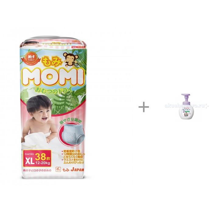 Momi Подгузники трусики XL (12-20 кг) 38 шт. и LION Kirei Kirei Пенное мыло для рук с ароматом цветов