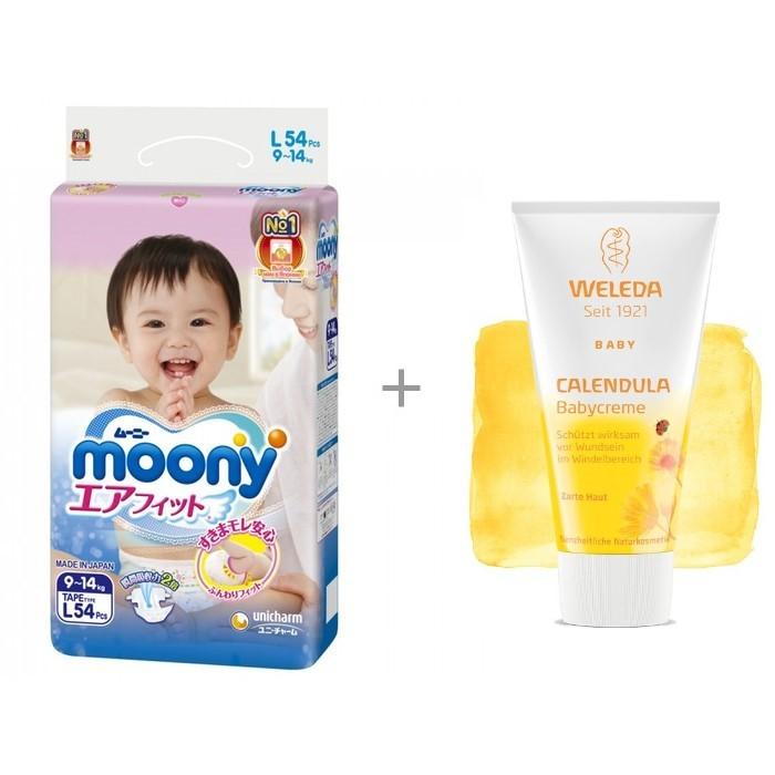 Moony Подгузники L (9-14 кг) 54 шт. и Weleda крем для младенцев с календулой для защиты кожи