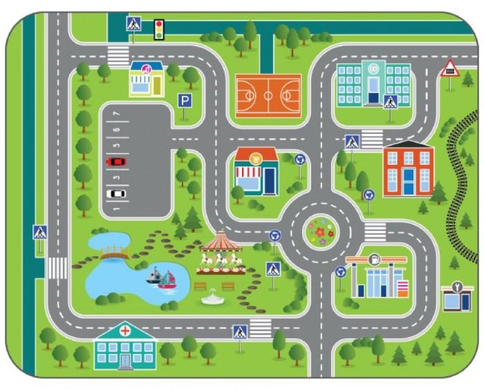 Игровой коврик Wolli Matlig плюшевый Городские дороги 3 в 1 120х60 см фото