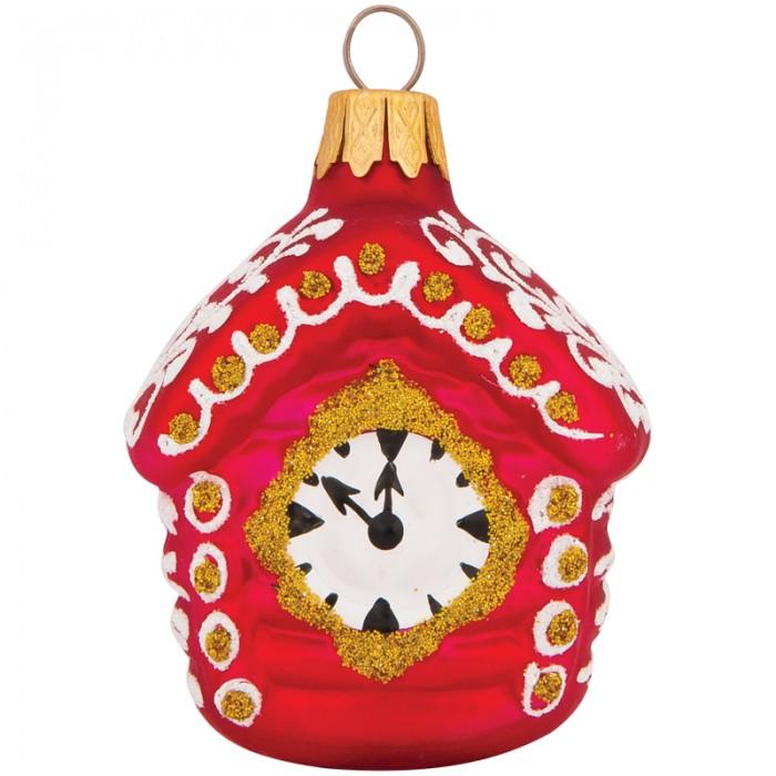 Елочные игрушки Элита Елочное украшение Домик с часами 7.5 см