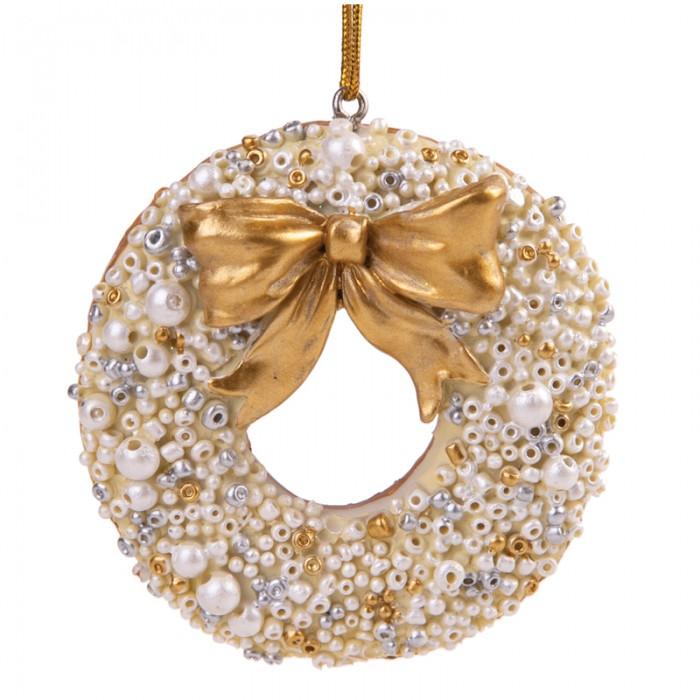 Елочные игрушки Феникс Презент Новогоднее подвесное украшение Пряник круглый с бантиком новогоднее подвесное украшение маскарад