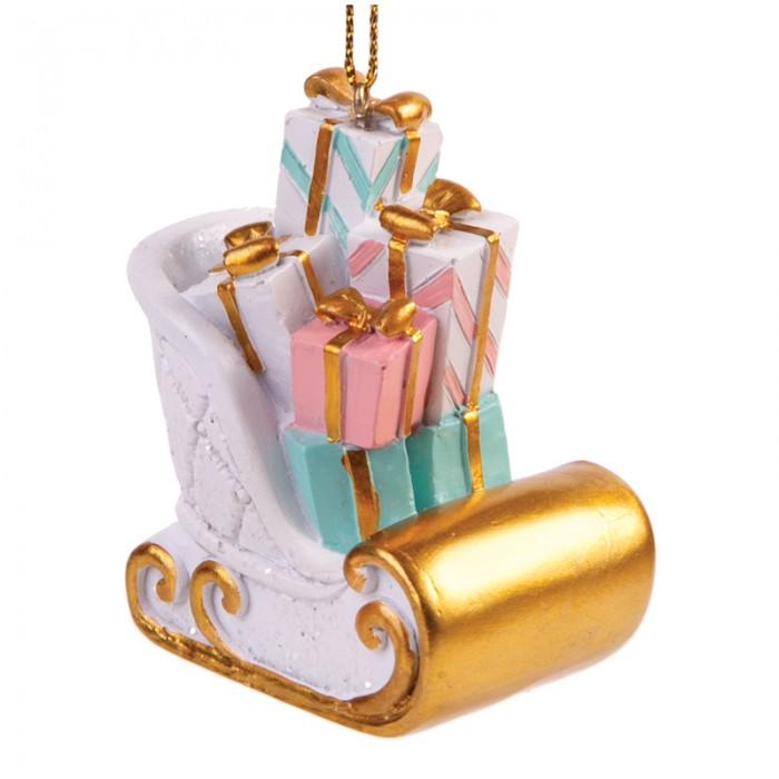Елочные игрушки Феникс Презент Новогоднее подвесное украшение Сани с подарками новогоднее подвесное украшение маскарад