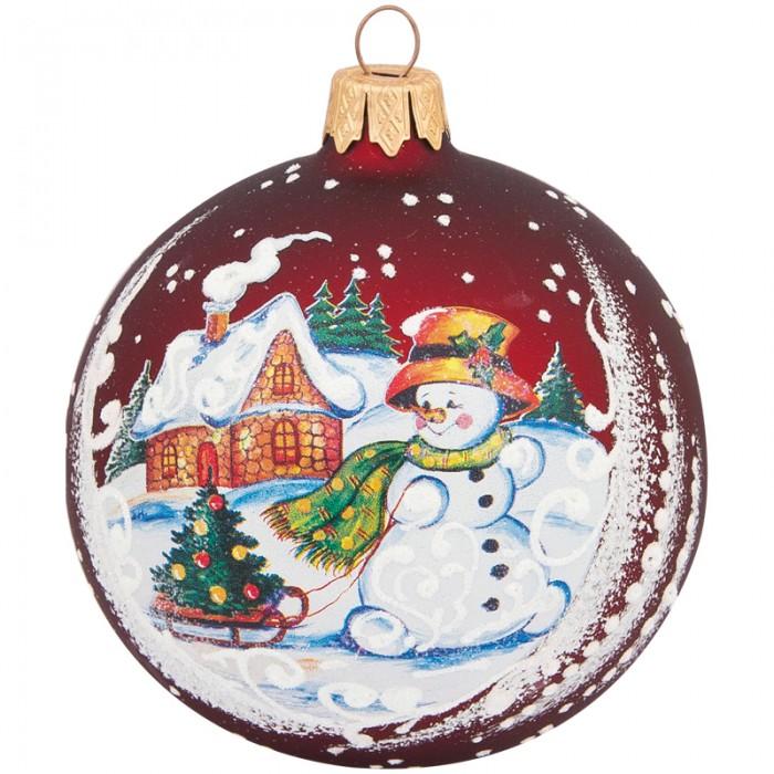 Купить Елочные игрушки, Элита Шар стеклянный Снеговик с елкой 8.5 см