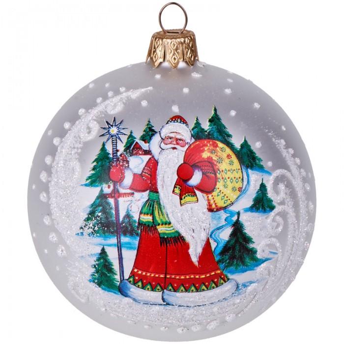 Купить Елочные игрушки, Элита Шар стеклянный Дед Мороз 8 см